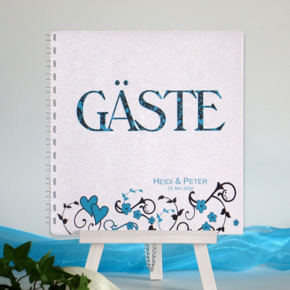 "Gästebuch ""Blumenornament"" türkis"