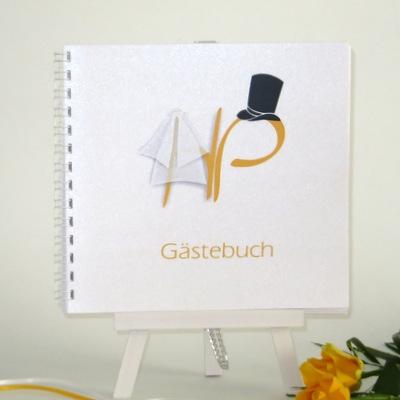 "Gästebuch ""Brautpaar"" gelb"