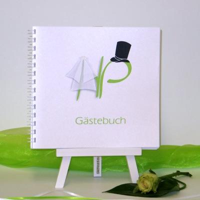 """Gästebuch """"Brautpaar"""" grün"""