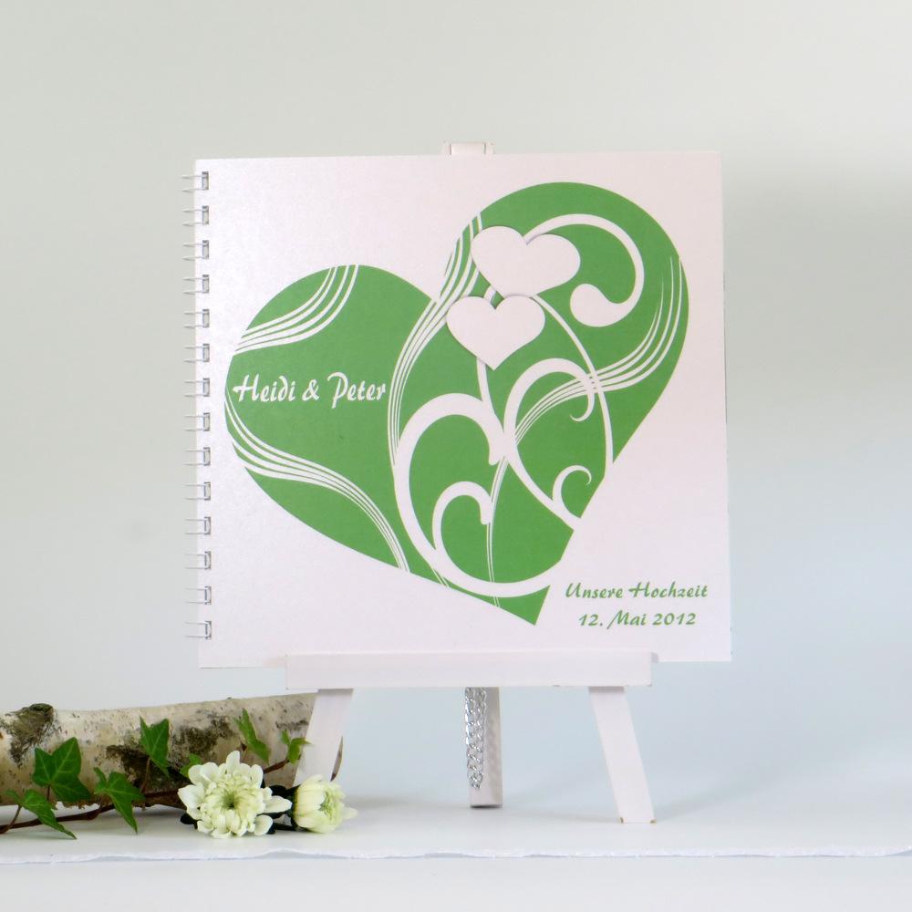 "Gästebuch ""Elegantes Herz"" grün"