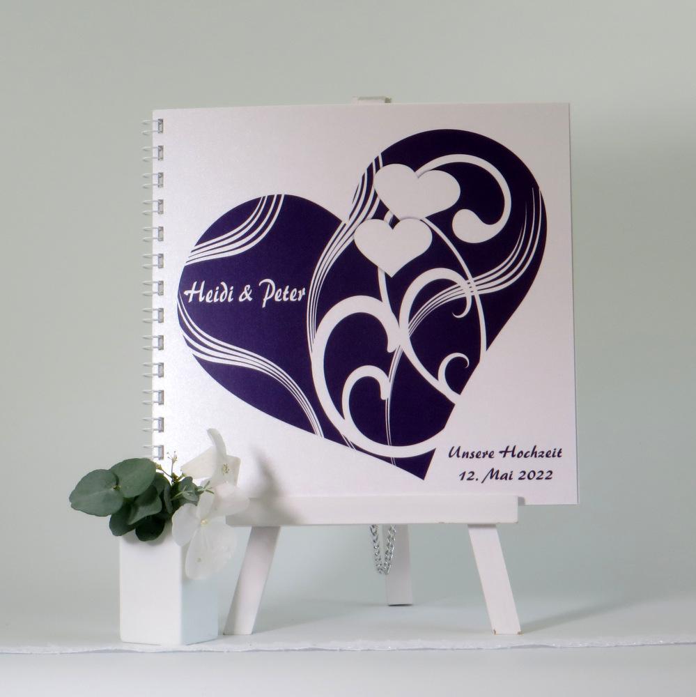 "Gästebuch ""Elegantes Herz"" lila"