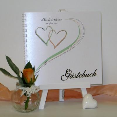 """Gästebuch """"Harmonie grün & apricot"""""""