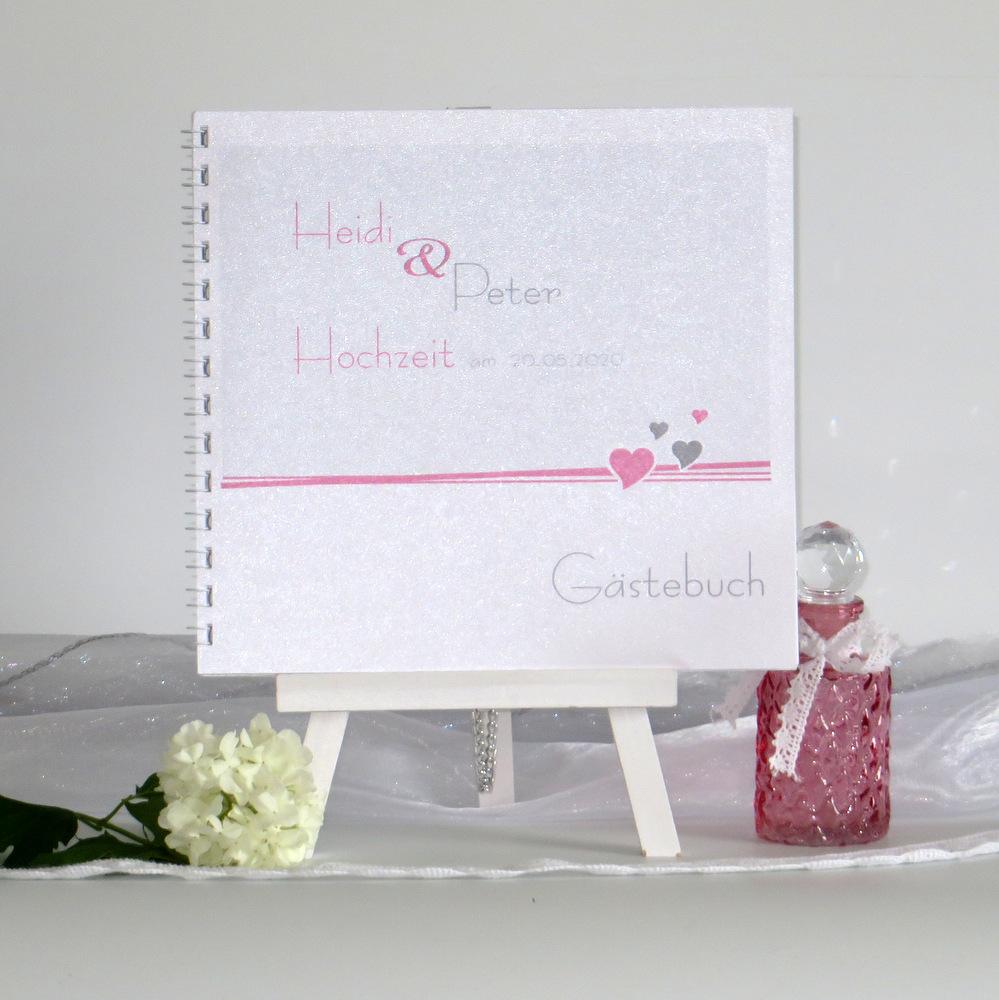 Gästebuch Herzchen rosa