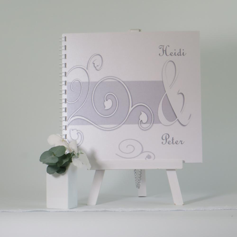 """Gästebuch """"Ornamente"""" grau&weiß"""