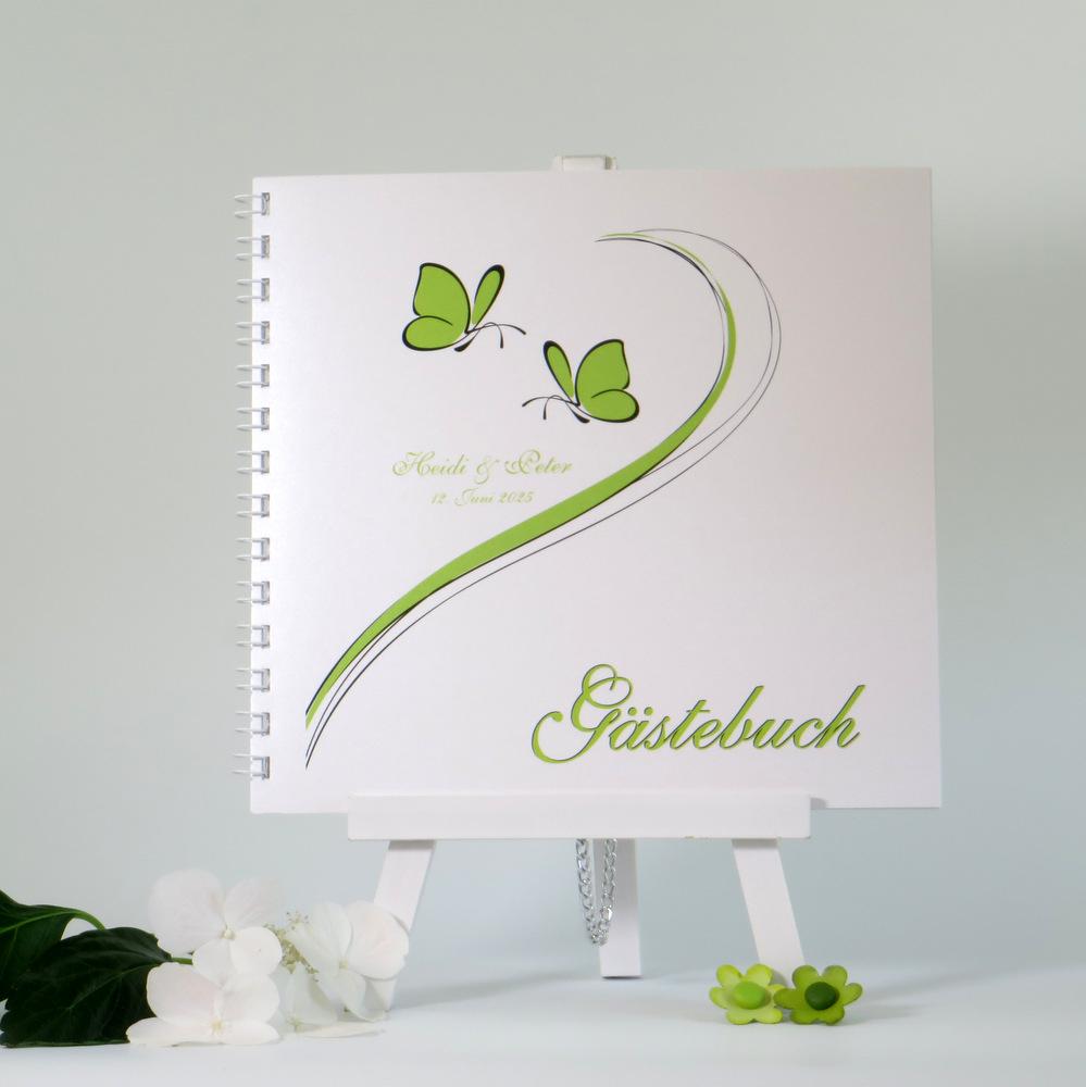 """Gästebuch """"Schmetterlinge"""" grün"""
