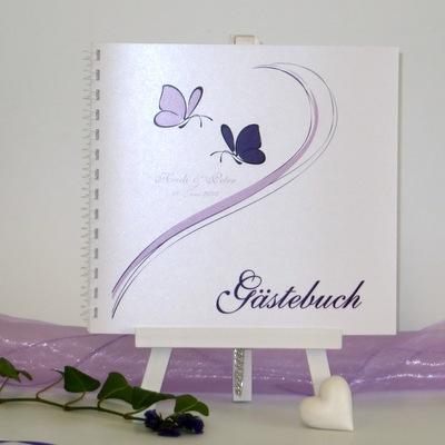 """Gästebuch """"Schmetterlinge"""" lila"""