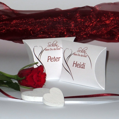 "Gastgeschenk + Tischkarte ""Blüte"" rot"