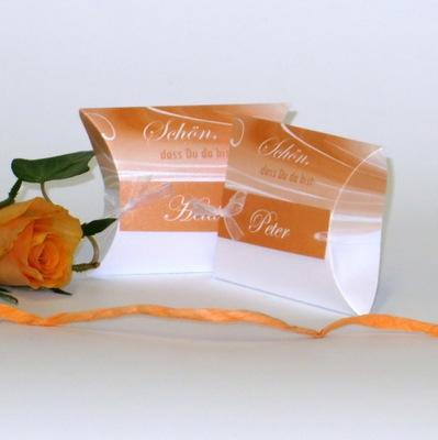 "Gastgeschenk + Tischkarte ""Apricot Duett"""