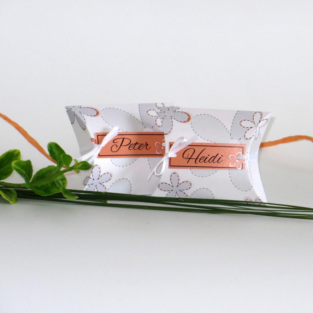 """Gastgeschenk + Tischkarte """"Blumen"""" orange"""
