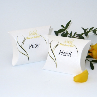 "Gastgeschenk + Tischkarte ""Blüte"" gelb"