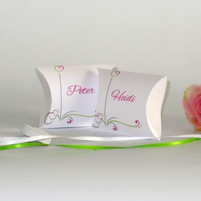 """Gastgeschenk + Tischkarte """"Design in pink & grün"""""""