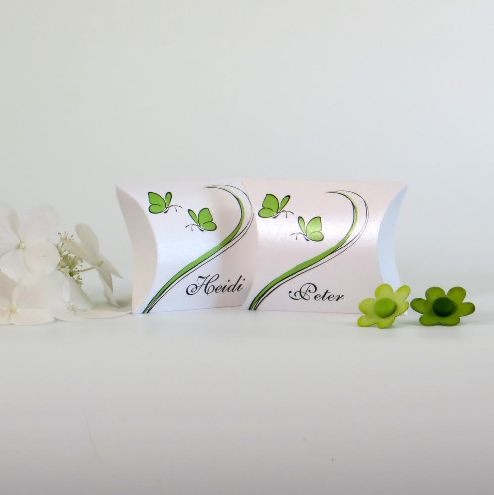 """Gastgeschenk + Tischkarte """"Schmetterlinge"""" grün"""