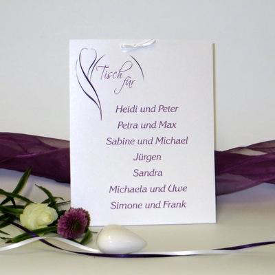 "Gruppentischkarte ""Blüte"" lila"