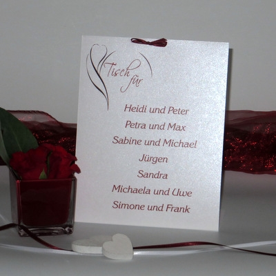 "Gruppentischkarte ""Blüte rot"" groß"