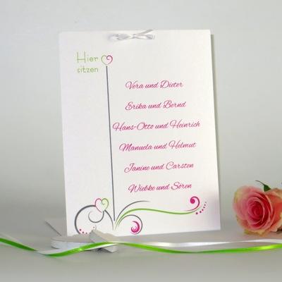 """Tischaufsteller """"Design in grün & pink"""" groß"""