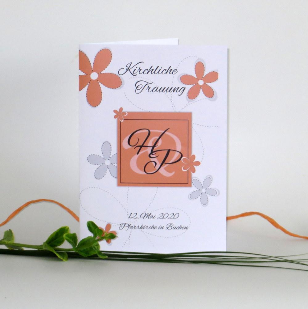 """Kirchenheftumschlag """"Blumen"""" orange"""