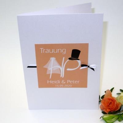 "Kirchenheftumschlag ""Brautpaar"" apricot"