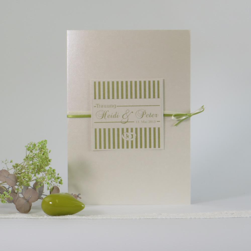 "Kirchenheftumschlag ""Ringe"" champagner & grün"