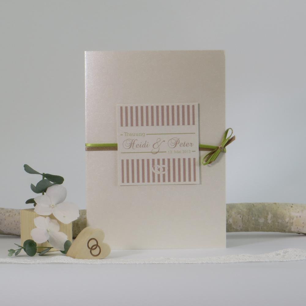 """Kirchenheftumschlag """"Ringe"""" creme,braun,grün"""