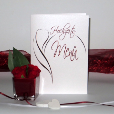 "Menükarte ""Blüte"" rot"
