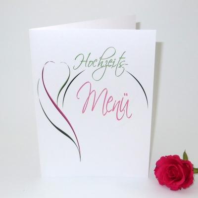 """Menükarte """"Blüte"""" pink & grün"""
