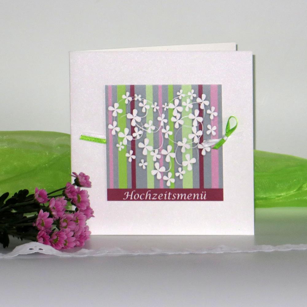 "Menükarte ""Blumenherz"" grün&rosa&aubergine"
