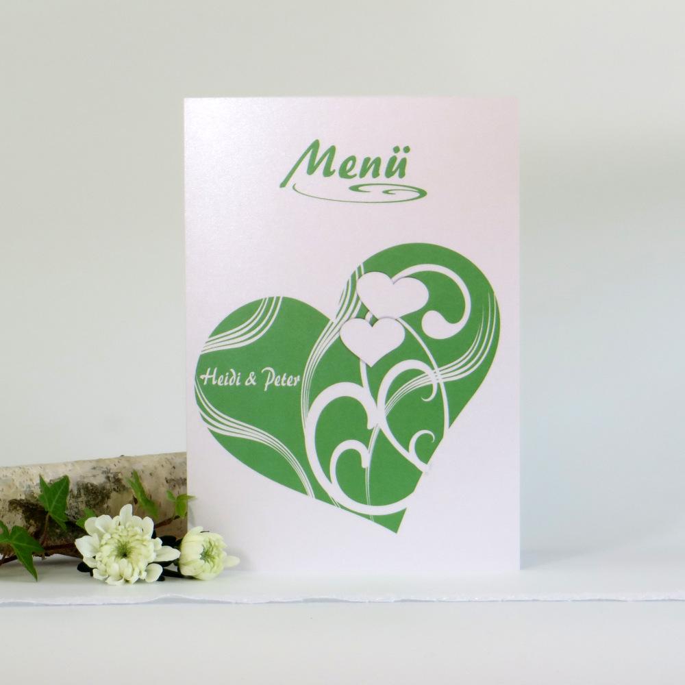 "Menükarte ""Elegantes Herz"" grün"
