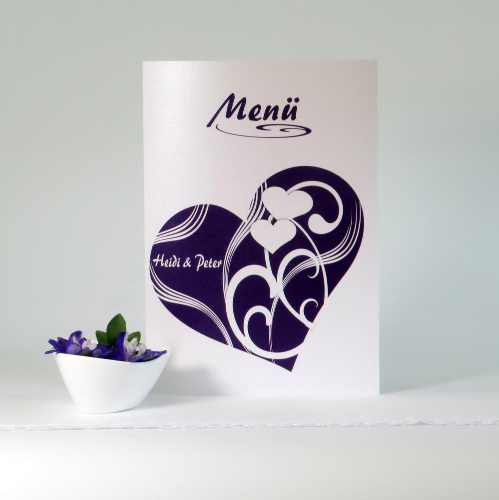 "Menükarte ""Elegantes Herz"" lila"