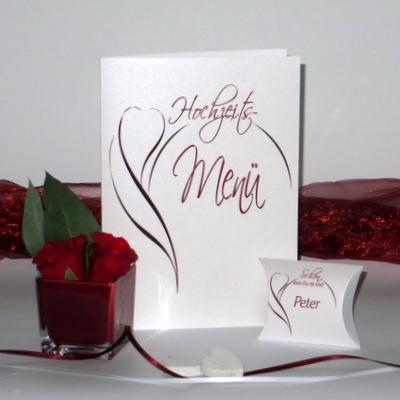 """Menükarte """"Blüte"""" rot mit Gastgeschenk"""