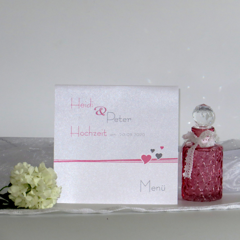 Menükarte Herzchen rosa