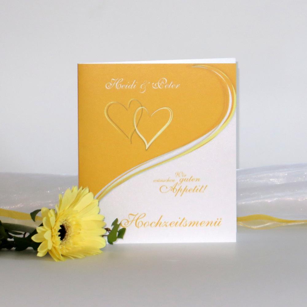 """Menükarte """"Herzpaar"""" gelb"""