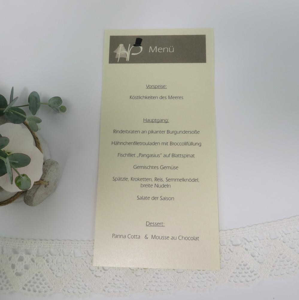 "Menükarte/Schriftrolle ""Brautpaar"" champagner"