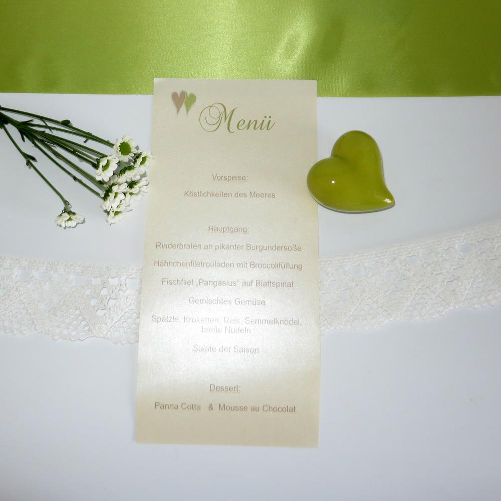 """Menükarte-Schriftrolle """"Glück"""" creme&grün"""