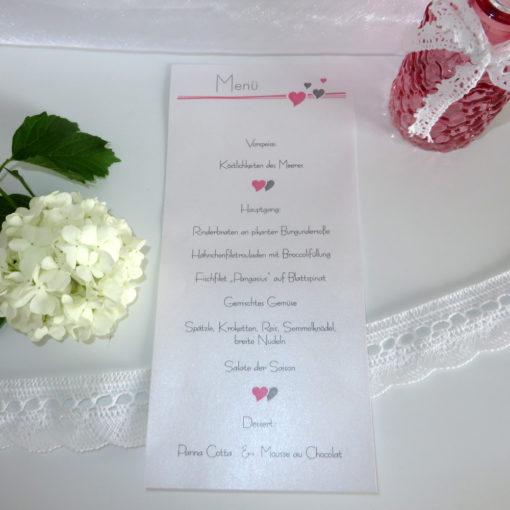 Menükarte-Schriftrolle Herzchen rosa