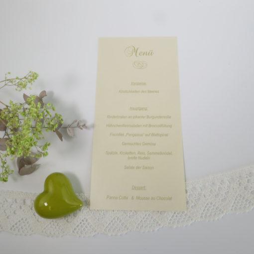 """Menükarte-Schriftrolle """"Ringe"""" champagner - grün"""