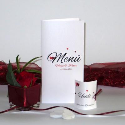 "Menükarte ""Herzle"" rot mit Tischkarten"