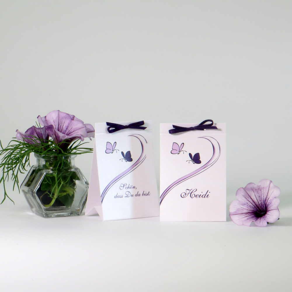 """Tischaufsteller """"Schmetterlinge"""" lila"""