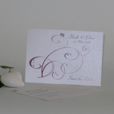 "Save the Date ""Farbflirt rose & weiß"""