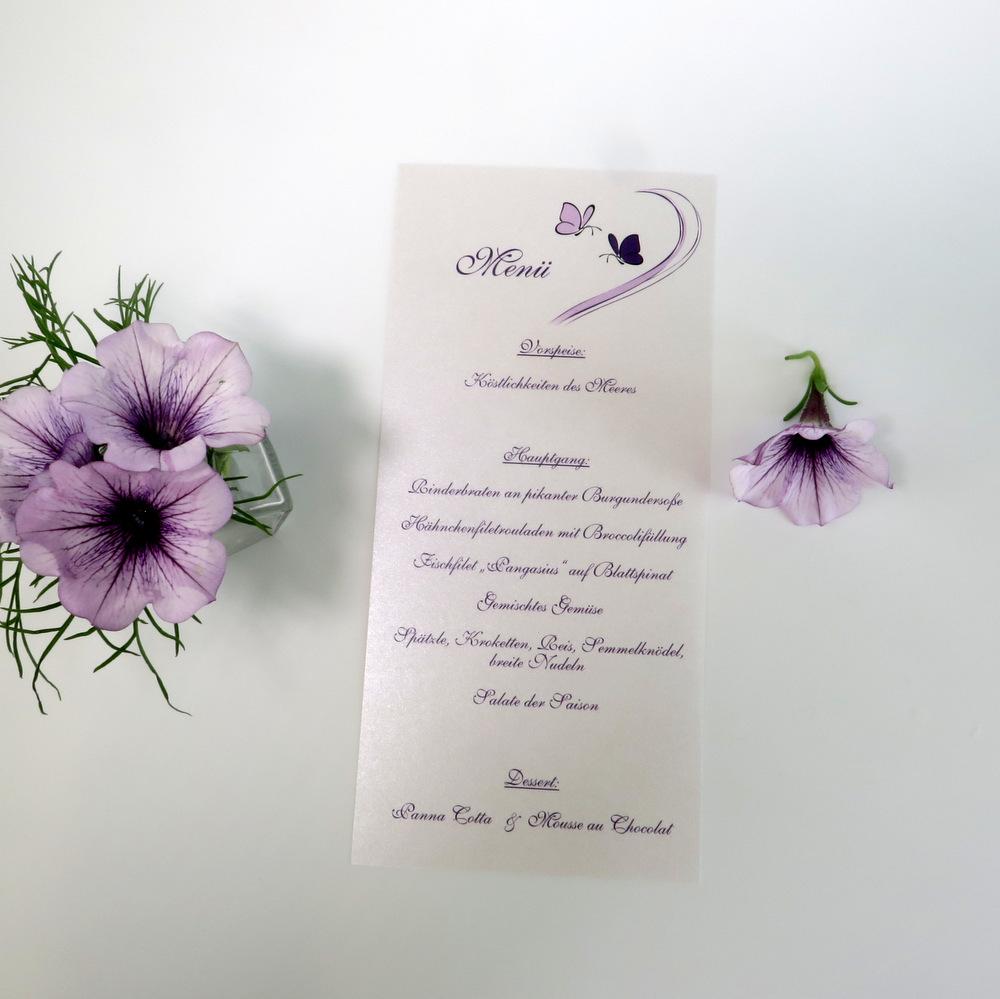 """Menükarte-Schriftrolle """"Schmetterlinge"""" lila"""