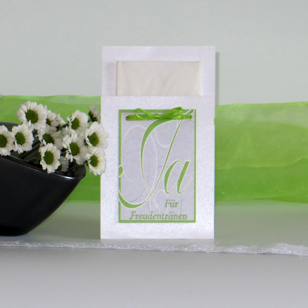 """Taschentuchtasche """"Ja-Wort"""" grün"""