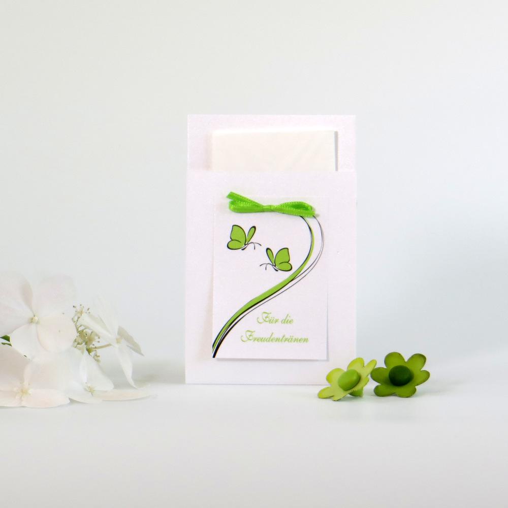 """Taschentuchtasche """"Schmetterlinge"""" grün"""