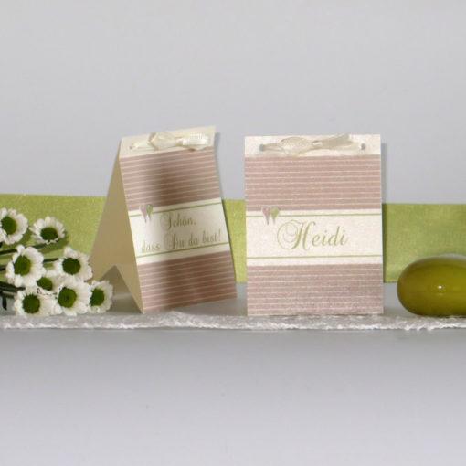 """Tischaufsteller """"Glück"""" creme&grün"""