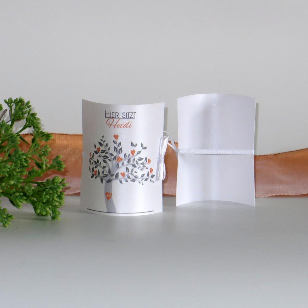 "Tischkarte ""Baum"" orange"