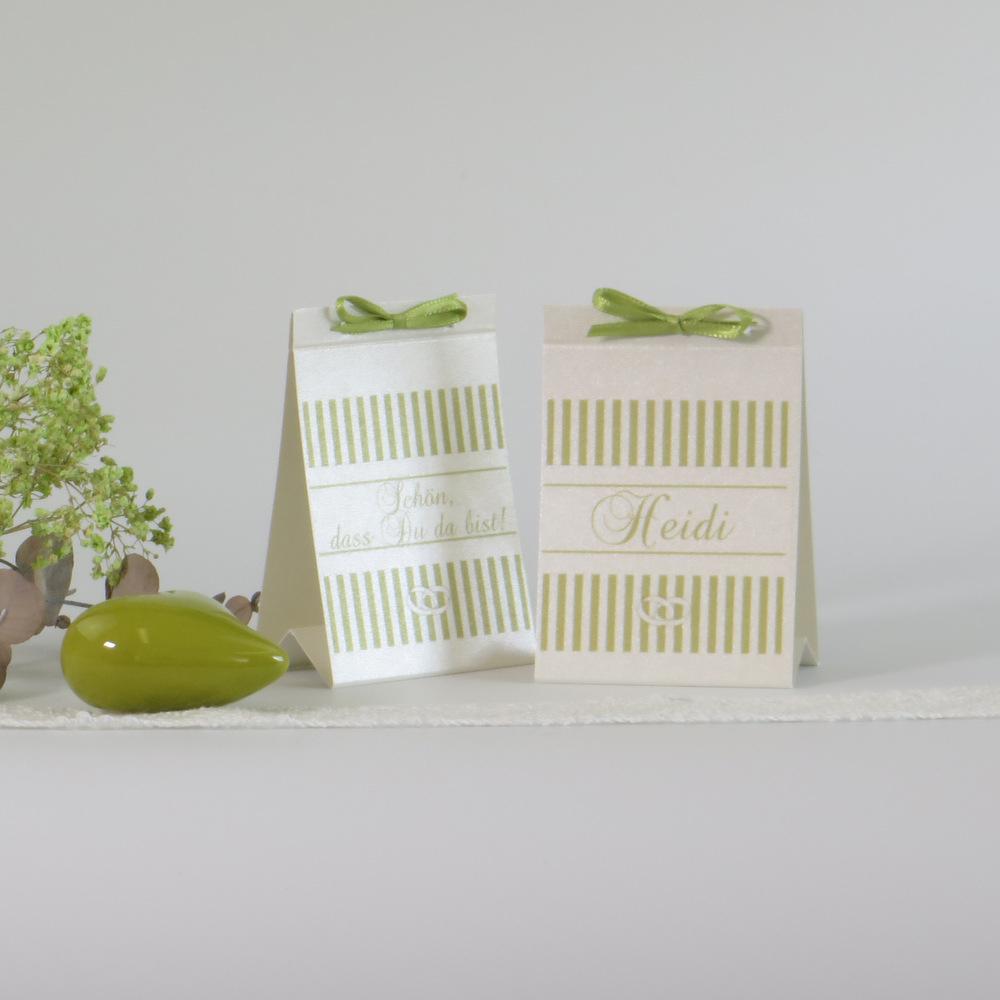 """Tischaufsteller """"Ringe"""" champagner - grün"""