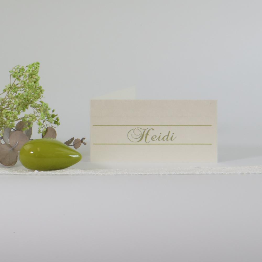 """Tischkarte """"Ringe"""" champagner & grün"""