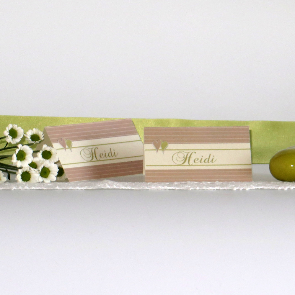 """Tischkarte """"Glück"""" creme&grün"""