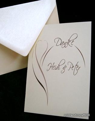 "Danksagungskarte ""Blüte"" braun"