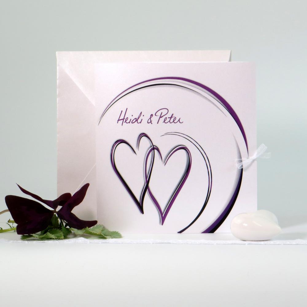 """Hochzeitseinladung """"Duo"""" aubergine"""