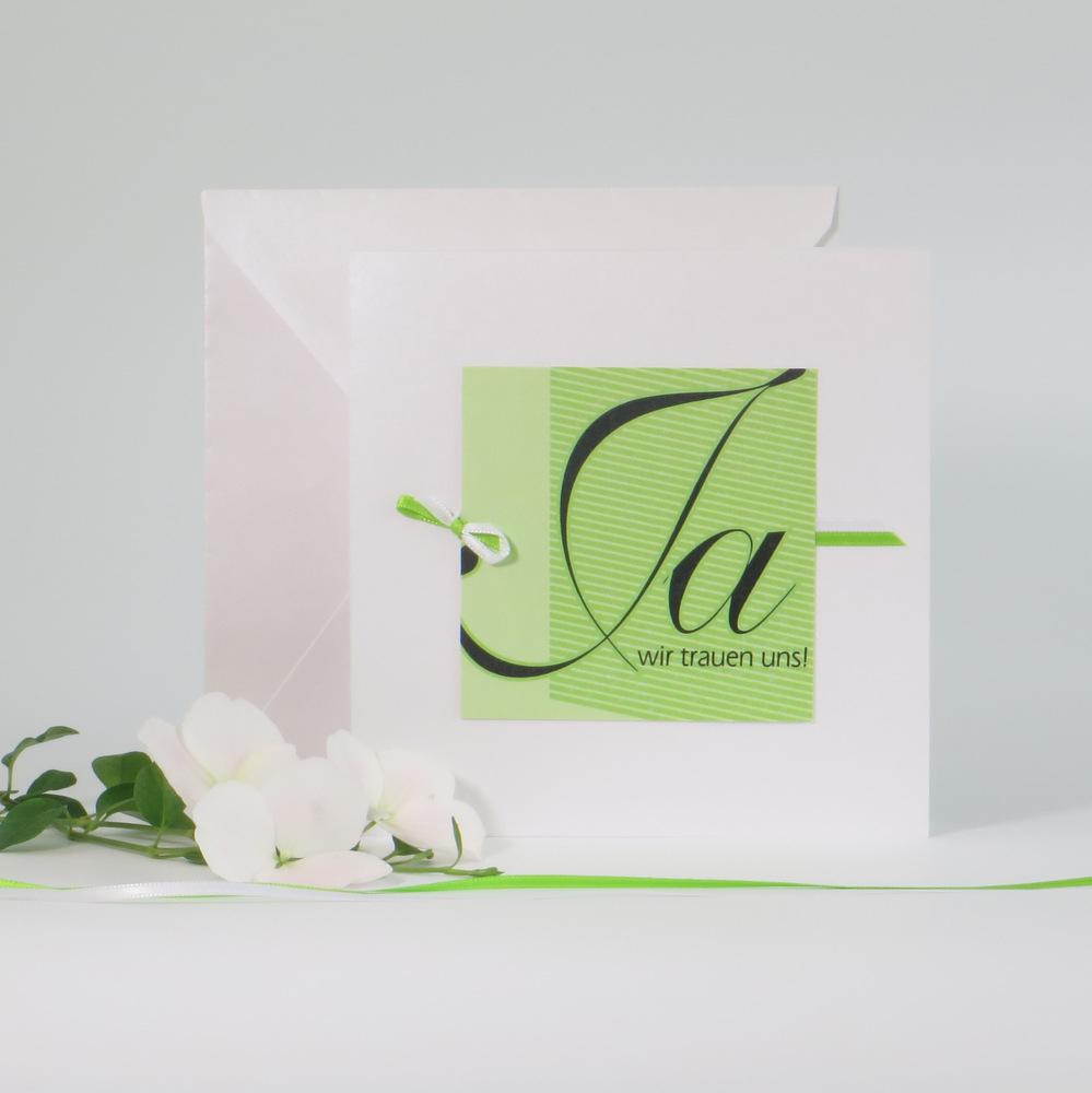 """Hochzeitseinladung """"Akzente"""" grün"""