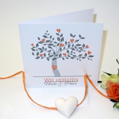 """Hochzeitseinladung """"Baum"""" orange"""